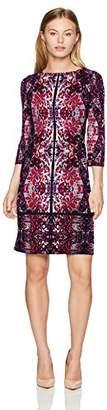 London Times Women's Petite 3/4 Sleeve Round Neck Jersey Shift Dress