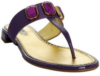 Prada purple jeweled nylon and patent thongs