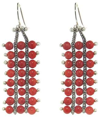 Ten Thousand Things Extra Long Studded Coral Square Chain Earrings