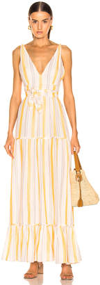 Lemlem Zeritu S/L Tiered Maxi Dress in Yellow | FWRD