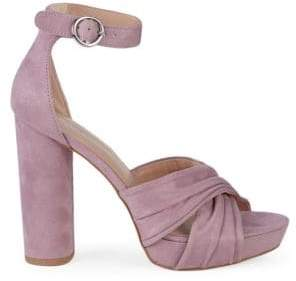 BCBGeneration Flora Block-Heel Ankle-Strap Microsuede Sandals