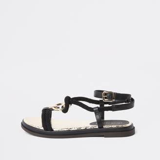 1ca52efe1e7 River Island Womens Black ring rope flat sandals