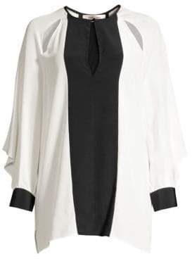 Diane von Furstenberg Aime Two-Tone Cut Out Tunic