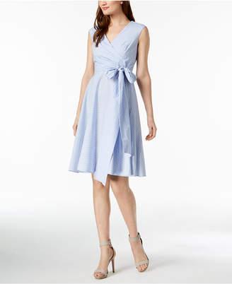 Calvin Klein Cotton Striped Wrap Dress, Regular & Petite