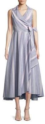 Calvin Klein Striped Self-Tie Cotton Dress