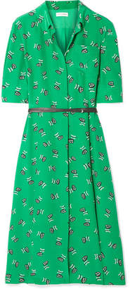 Altuzarra Wednesday Belted Printed Silk Crepe De Chine Shirt Dress - Green