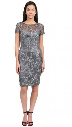 Sue Wong - Sheath Dress With Short Sleeves in Charcoal Cocktail Dress $572 thestylecure.com