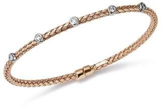Bloomingdale's Diamond Bezel Flex Weave Bangle in 14K White & Rose Gold, 0.20 ct. t.w. - 100% Exclusive