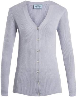 Prada V-neck ribbed-knit wool-blend cardigan