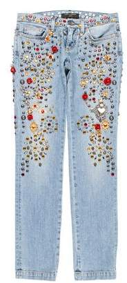 Dolce & Gabbana Embellished Low-Rise Jeans w/ Tags