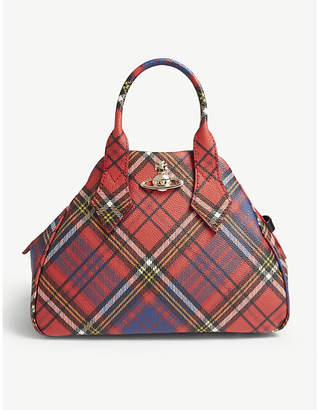 Vivienne Westwood Womens Dark Red and Blue Tartan Check Yasmine Derby Bag