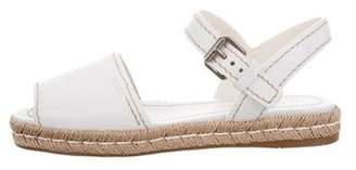 Prada Leather Ankle-Strap Espadrilles