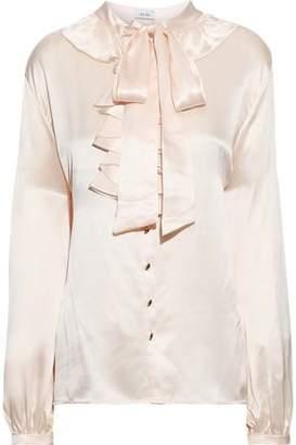 Isolda Pussy-bow Ruffled Silk-charmeuse Blouse