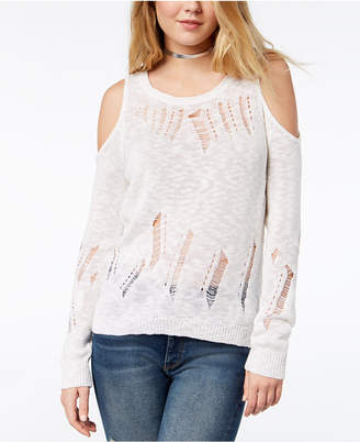One Hart Juniors' Ripped Cold-Shoulder Sweater, Created for Macy's