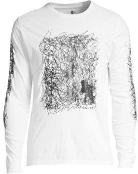 PRPS Men's Squiggly Print Long Sleeve Tee - White - Size Small