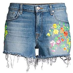 7 For All Mankind Women's High-Waist Embroidered Floral Frayed Cutoffs