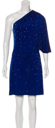 Halston Embellished One-Shoulder Dress