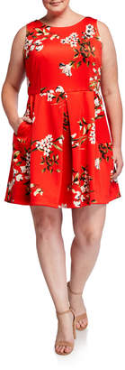 Taylor Plus Size Floral-Print Sleeveless Fit-&-Flare Dress