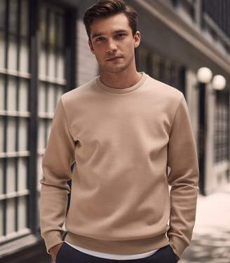Reiss Our last order date for Christmas has now passed HEATON MELANGE CREW NECK JUMPER Camel
