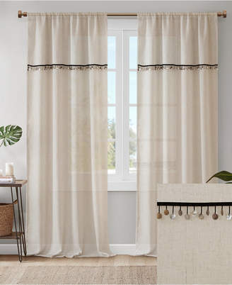 """Madison Park Dalis 50"""" x 95"""" Faux Linen Rod Pocket Window Curtain With Attached Shell Trim Valance"""