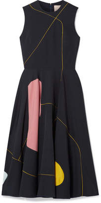 Roksanda Mysia Satin-paneled Crepe Dress - Midnight blue