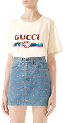Gucci Embroidered High-Waist Denim Mini Skirt