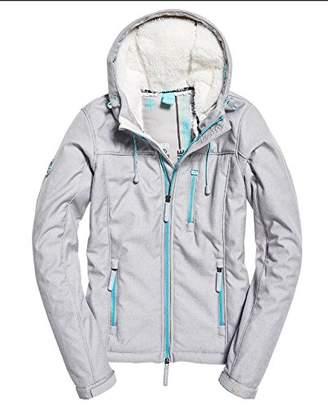 Superdry Women's Sdhoodedsherpawindtrekker Sports Jacket, (Heelflip Grey Marl/Blue Turquoise Sa7), (Size: 14)