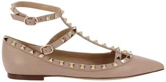 Valentino Ballet Flats Rockstud T-strap Ballerina Flats In Genuine Grained Leather With Maxi Metal Studs