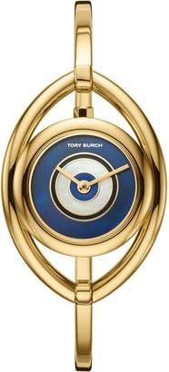 Tory Burch EVIL EYE BANGLE WATCH, GOLD-TONE/IVORY, 25 MM