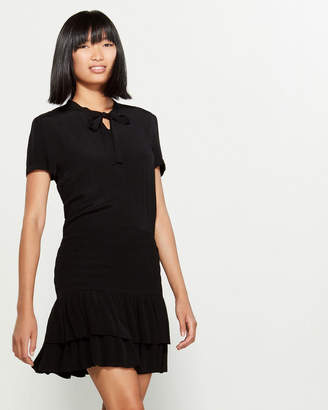 Maje Black Smocked Waist Mini Dress