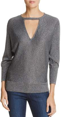 Milly Metallic V-Cutout Sweater