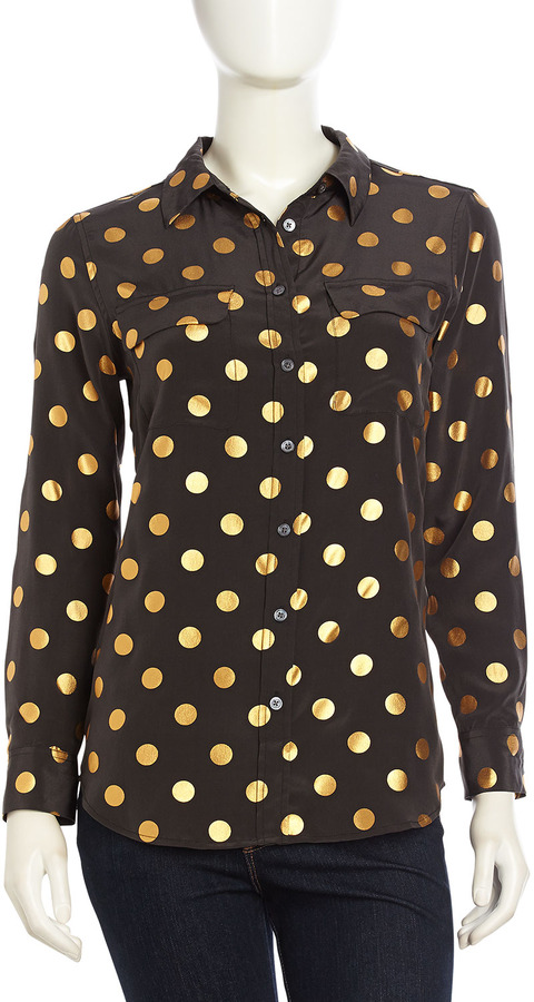Equipment Long-Sleeve Spotted Silk Blouse, Black