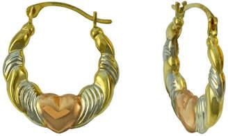 FINE JEWELRY Tri-Tone 14K Gold Heart Hoop Earrings