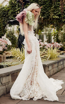 dbefe31af9 Vera Wang Hazel A-Line Macrame Lace Gown With Overskirt