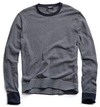 Todd Snyder Striped Cotton Crewneck in Navy