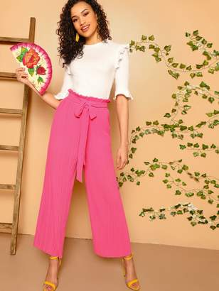 Shein Paperbag Waist Wide Leg Pleated Pants