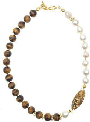 Farra Freshwater Pearls With Tiger Eyes & Rhinestones Short Necklace