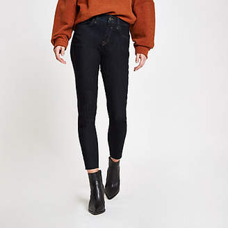 River Island Womens Dark Blue Amelie raw hem super skinny jeans