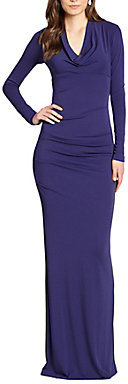 Nicole Miller Tucked Jersey Cutout-Back Gown