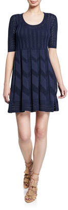 M Missoni Scoop-Neck Short-Sleeve Knit Mini Dress