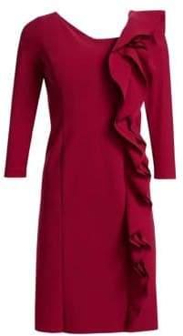 Teri Jon by Rickie Freeman Asymmetrical Ruffled Sheath Dress