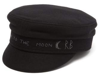 Ruslan Baginskiy Embroidered Wool Baker Boy Cap - Womens - Black