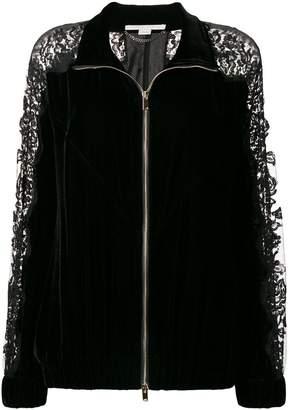 Stella McCartney lace panel velvet bomber jacket