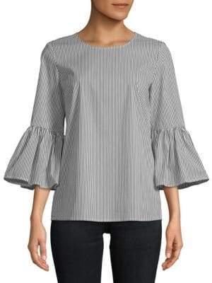 Calvin Klein Striped Bell-Sleeve Top