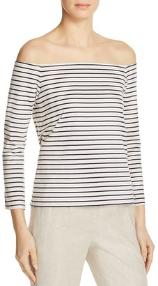Theory Aprine Striped Off-The-Shoulder Top $215 thestylecure.com