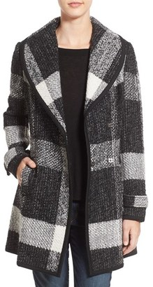 Women's Guess Shawl Collar Plaid Coat $180 thestylecure.com