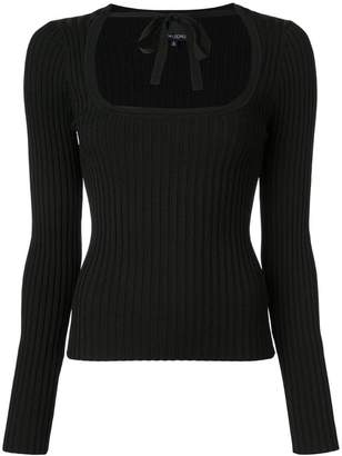 Cynthia Rowley Dakota ribbed sweatshirt with tie neck