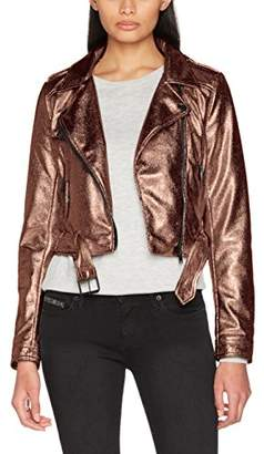 Only Women's Onljamie Cropped Faux Leather Biker OTW Jacket,(Manufacturer Size: 38)