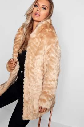 boohoo Plus Faux Fur Hooded Longline Coat