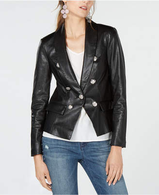 INC International Concepts I.n.c. One-Button Faux-Leather Blazer, Created for Macy's